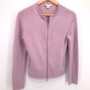 Max Mara Zippered Cashmere Cardigan in Lilac